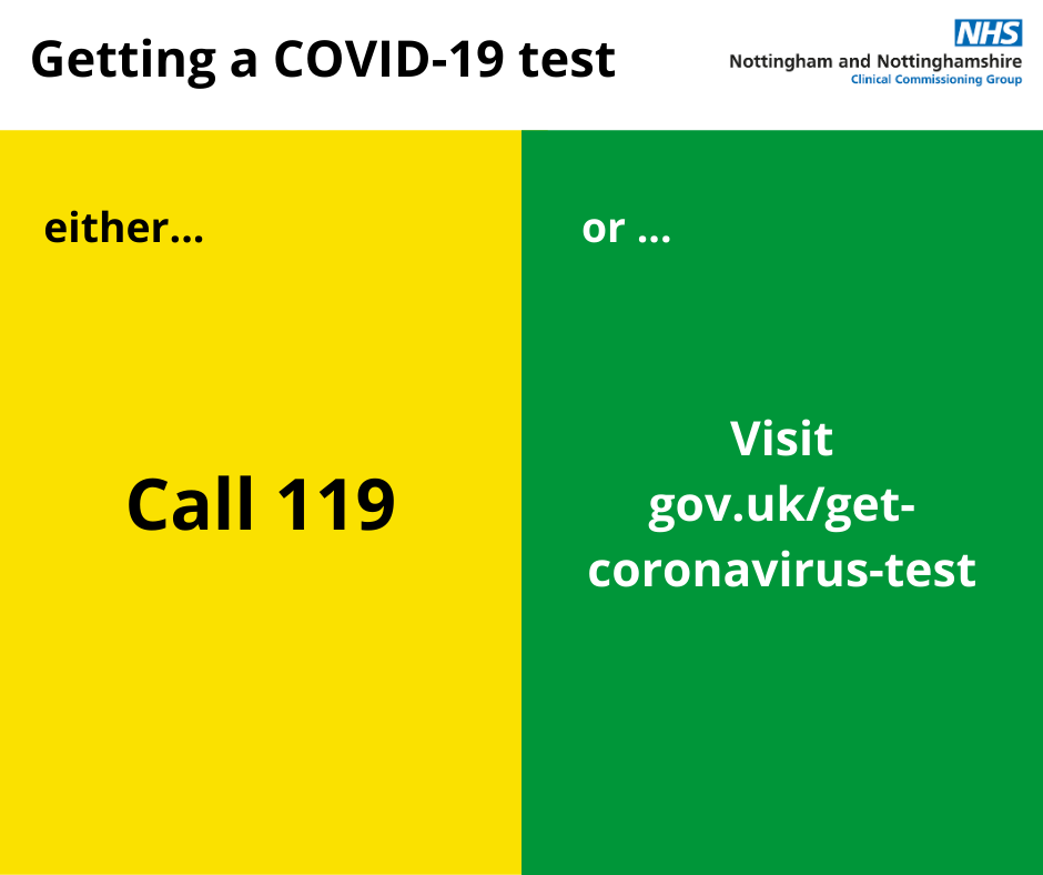 Getting a COVID-19 test. Either call 119 or visit gov.uk