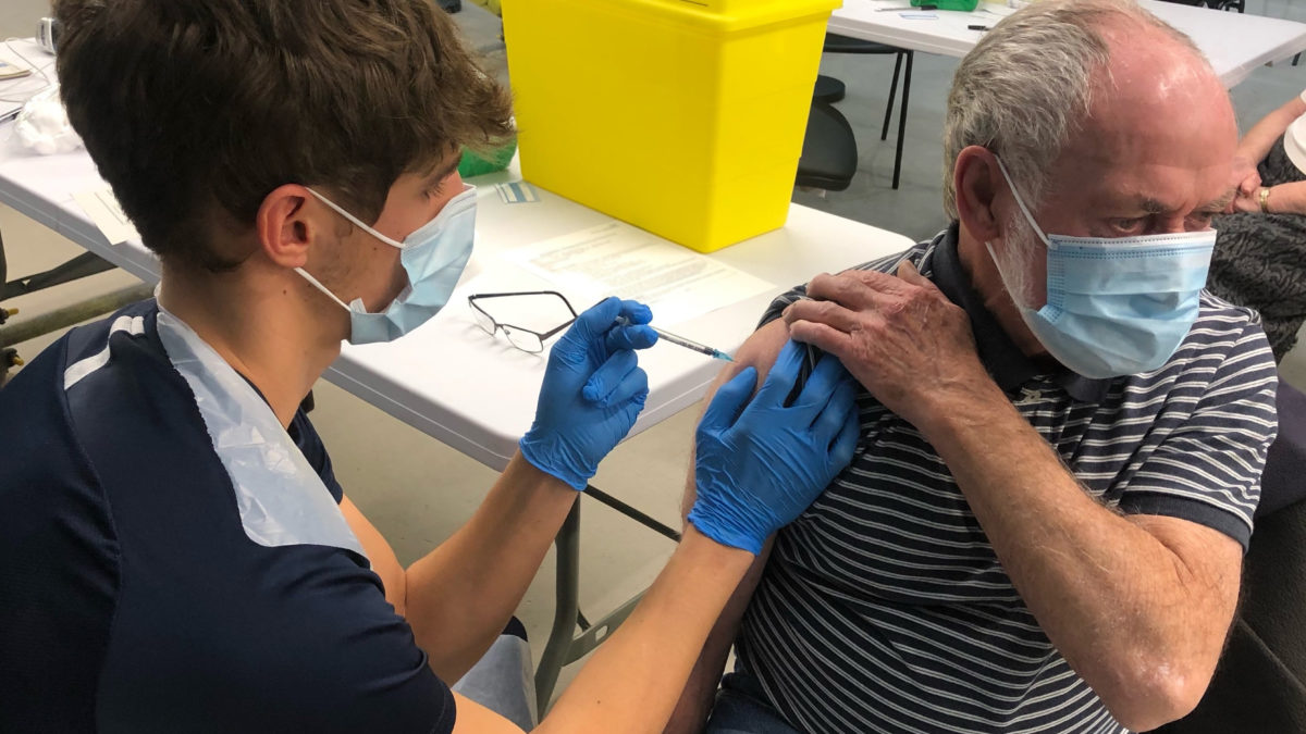 81-year-old- John Armstrong receives his Covid-19 vaccination