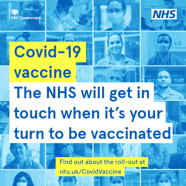 The NHS will get in touch when it's your turn to be vaccinated