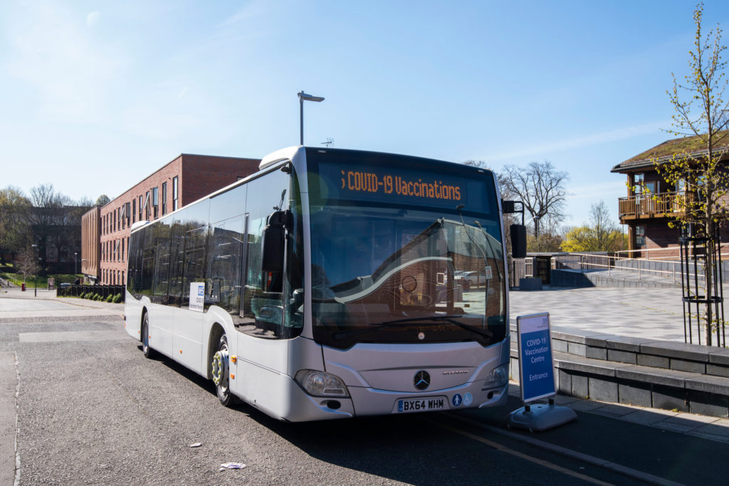 A mobile vaccination bus is offering the Covid-19 vaccine to people in Nottingham to help drive uptake amongst eligible groups